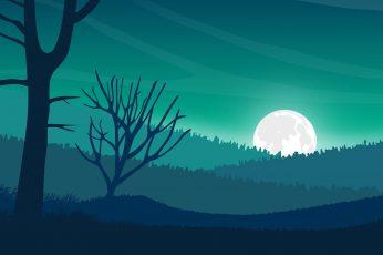 Artistic wallpaper, digital landscape, digital art, hills, moon, minimal art