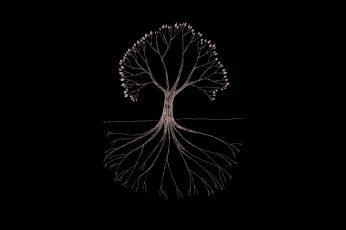 Tree illustration wallpaper, Gojira, minimalism