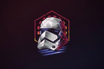 Minimalism wallpaper, Figure, Star Wars, Background, Art, Neon, Stormtrooper