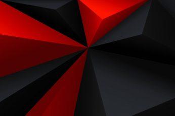 Red and black 3D wallpaper, digital art, minimalism, low poly
