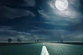 Moon wallpaper, Landscape, nature, highway, road