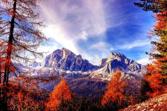 Nature wallpaper, sky, wilderness, mountain, autumn, tree