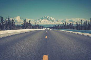 Road highway wallpaper, sky, nature, horizon, infrastructure, winter