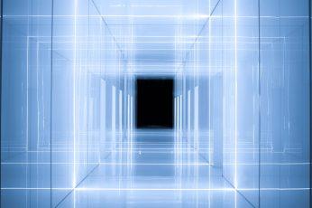 Mirrored pathway wallpaper, infinity mirror, hallway, blue neon, neon light