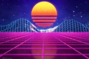 Retrowave wallpaper, neon art, purple, synthwave, retro art