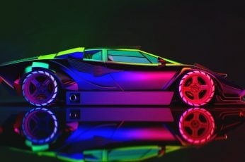 Lamborghini Neon wallpaper, Machine, Car, Art, Countach, Rendering