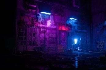 Dark wallpaper, artwork, futuristic, synthwave, neon