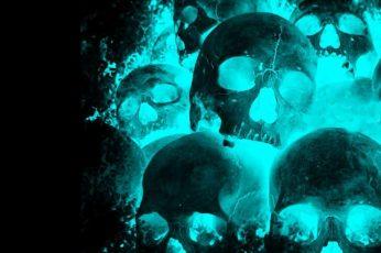 Teal skull wallpaper, fire, neon, cyan, black background, dark
