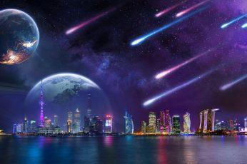 City lights wallpaper, tower, architecture, skyscraper, digital art