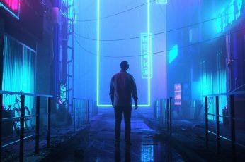 Neon wallpaper, digital art, futuristic city, night, cyberpunk
