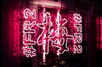 Pink neon light signage wallpaper, lighting, tokyo, harajuku, japan