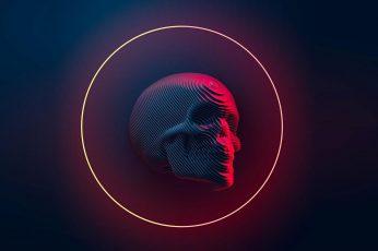 Skull neon wallpaper, Blender, digital