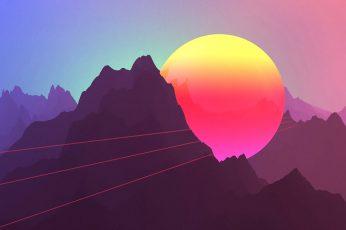 Mountains neon wallpaper, Retro style, sunset