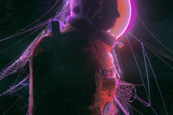 Beeple wallpaper, digital, astronaut, neon, lights