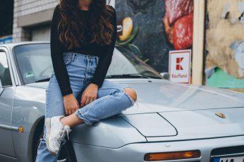 Neckarstadt wallpaper, porsche, jeans, woman