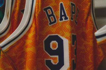 Orange and white Bape 93 jersey wallpaper, hype