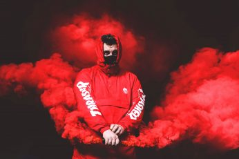 Red Thrasher pullover hooded jacket with red smoke wallpaper