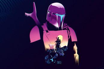 Mandalorians wallpaper, Star Wars, cyberpunk, futuristic, artwork, Baby Yoda