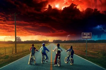 Stranger Things wallpaper, Netflix, clouds, bicycle, children, tv series