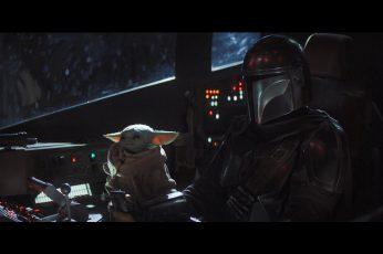 The Mandalorian wallpaper, Star Wars, Yoda, Baby Yoda, tv series, movie scenes