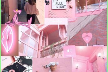 Pink aesthetic collage wallpaper