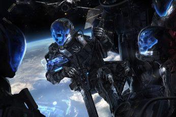 Wallpaper Aliens In Space Wallpaper, Futuristic, Military