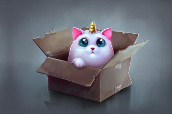 Wallpaper Anime, Art, Box, Children's, Katya Art, Cat Unicorn