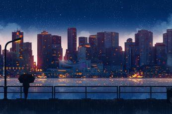 Wallpaper Anime, City, Building, Women, Umbrella, Night