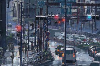 Wallpaper Anime City Illustration, Makoto Shinkai