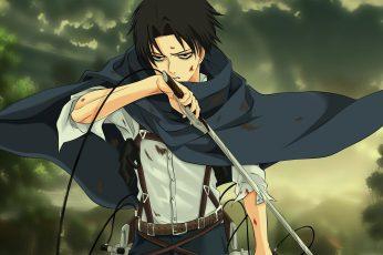 Wallpaper Attack On Titan Captain Levi, Sword, Blood
