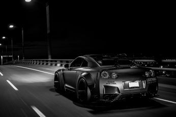 Wallpaper Black Coupe, Tuning, Nissan Skyline Gt R R35