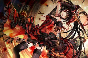 Wallpaper Black Haired Woman Holding Two Guns, Anime Girls