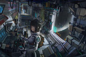 Wallpaper Black Haired Woman Illustration, Anime Girls