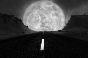 Wallpaper Black, Nature, Black And White, Sky, Full Moon