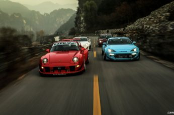 Wallpaper Blue And Red Cars, Rocket Bunny, Stance, Porsche