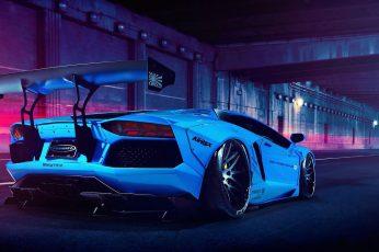 Wallpaper Car, White Car, Blue, Sports Car, Lamborghini