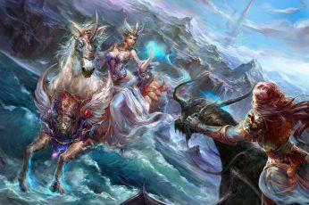 Wallpaper Castle, Dragon, Elf, Girls, Horse, Rocks, Sea