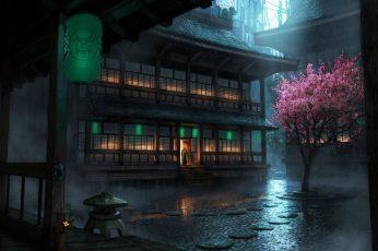 Wallpaper Cherry Blossom, Chinese Architecture, Night, Dark