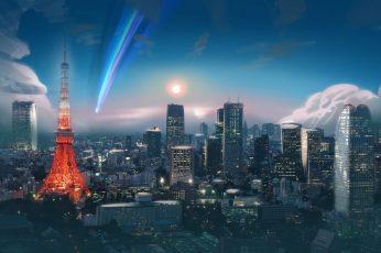 Wallpaper City, Anime, Tokyo, Tower, Comet, Sky 3840×2160