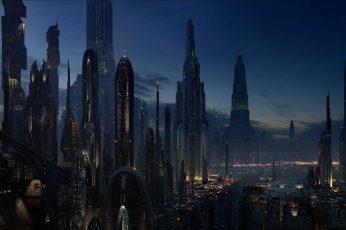 Wallpaper City Buildings, Cityscape, Futuristic, Star Wars