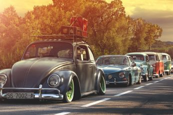 Wallpaper Classic Black Volkswagen Beetle Coupe, Car