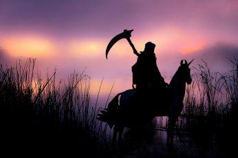 Wallpaper Death, Unicorn, Silhouette, Backlight, Landscape
