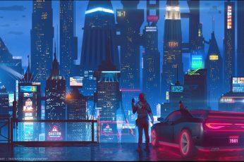 Wallpaper Digital Art, Women, City, Car, Cat, Cyberpunk