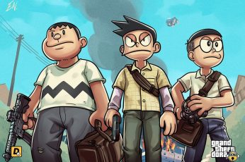 Wallpaper Doraemon Characters, Three Boys Anime Character