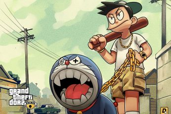 Wallpaper Doraemon Grand Theft Auto Game Poster