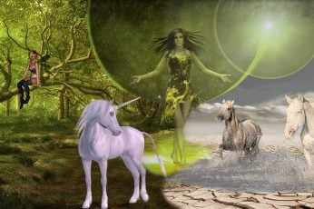 Wallpaper Fairy Standing Between Unicorn And Two Running