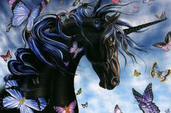 Wallpaper Fantasy Animals, Unicorn, Artistic, Black