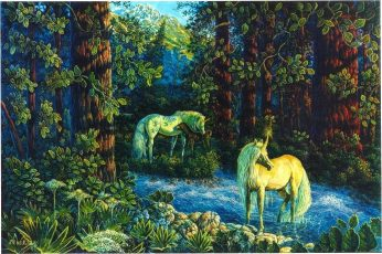 Wallpaper Fantasy Animals, Unicorn, Tree, Plant, Growth