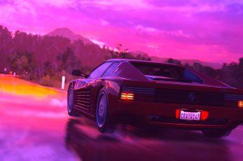 Wallpaper Ferrari Testarossa, Synth, Car, Retrowave