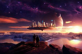 Wallpaper Floating City Illustration, Planet, Science